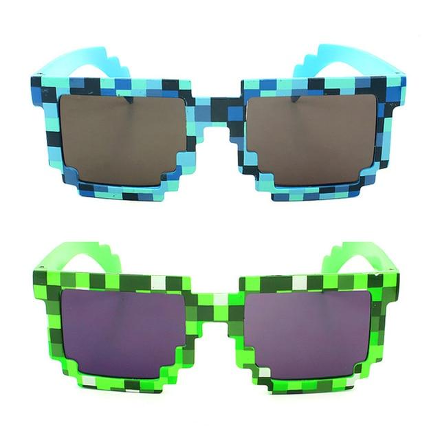 0a3a3bc64b Cute Vintage Square Novelty Mosaic Sun Glasses Trendy Summer Style Unisex  Pixel Sunglasses Colors Blue Green