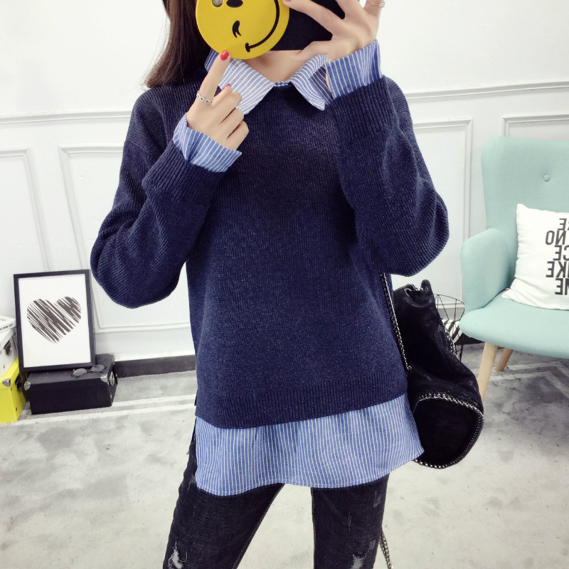 2017 Autumn Knitted Cotton Shirt Women Fake Two Piece Top Turn Down Collar Long Sleeve Winter Plus Size Women Tops And Shirts knitting