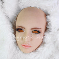 Top Grade Latex Handmade Silicone Sexy And Sweet Half Female Face Ching Crossdress Mask Crossdresser Doll Male Skin Mask