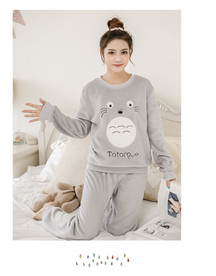 Women pajamas set Women Pyjamas Thick Flannel Cute Sheep Female Warm Winter Pajama Set Long Sleeve Full Trousers Two Piece 2019 71