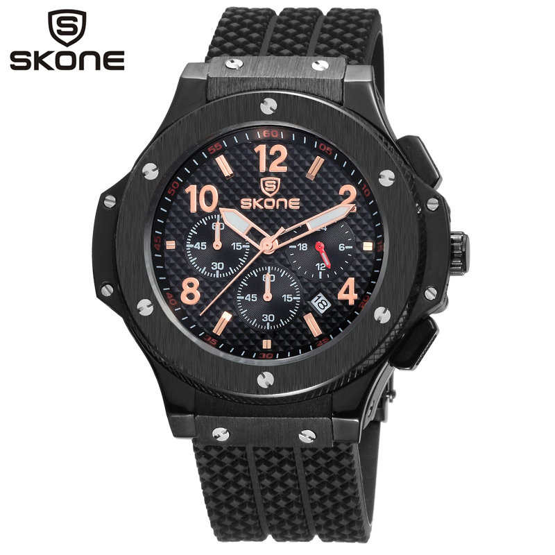 SKONE Chronograph 6 Hands 24 Hours Function Men Sport Watch Silicone Luxury Watch Men Top Brand Military Watch Auto Date Relogio skone chronograph 6 hands 24 hours function men sport watch silicone luxury watch men top brand military watch auto date relogio