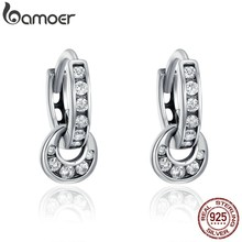 BAMOER 925 Sterling Silver Double Circle Dazzling CZ Round Hoop Earrings for Women Sterling Silver Jewelry Bijoux Gift SCE139(China)