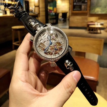 Blue Ocean Geometry Design Transparent Skeleton Dial Mens Watch Top Brand Luxury Automatic Fashion Mechanical Watch Clock Переносные часы
