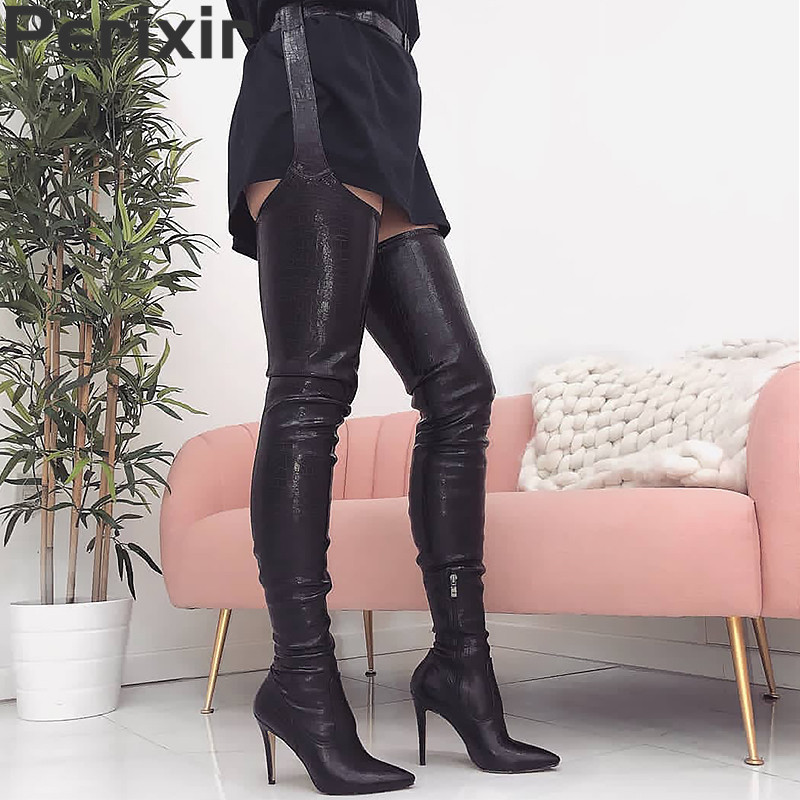 Perixir Fashion PU Rihanna Style Over the Knee Boots for Women Shoes Pointed Toe Pleated Solid High Heels Long Thigh High Boots