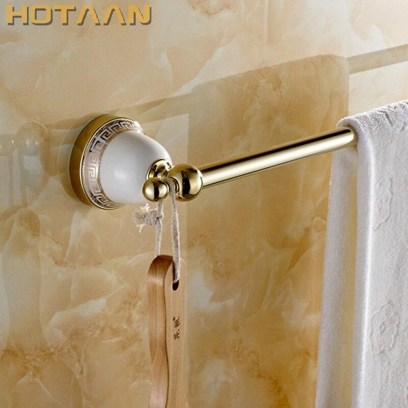 HOT SELLING, gold Bathroom towel holder,Single towel bar, towel rack,60cm solid brass towel rack with hooks new thickened solid brass towel rack single towel bar towel ring black