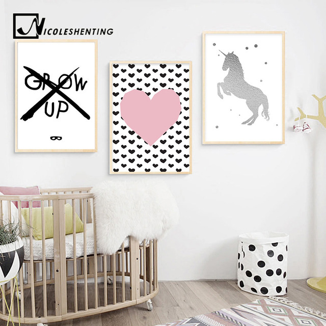 Unicorn Pink Heart Arrow Canvas Art Poster Cartoon Nursery Quote Print Painting Nordic Wall Pictures Kids Bedroom Decoration