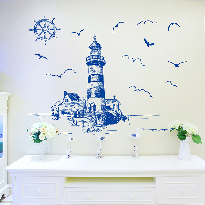 [shijuekongjian] Blue Color Lighthouse Birds Wall Sticker PVC Material DIY Mural Decals for Living Room Bedroom House Decoration