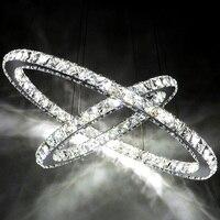 Хромированная люстра кристаллическое кольцо Светодиодная лампа из нержавеющей стали подвесные светильники Регулируемая кристальная свет...
