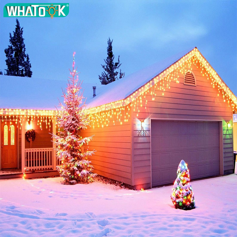 Led Curtain Christmas String Lights 4.5m Droop 0.3-0.5m Outdoor Decoration House With Icicle Light Wedding Party Garland Lights