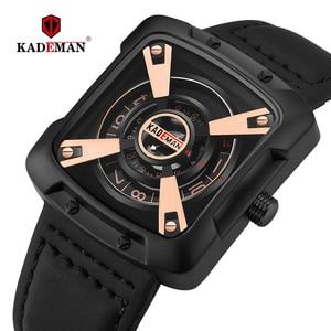 Image 1 - 612G New KADEMAN Fashion Watch Men Quartz Outdoor Sport Leather Wristwatches Casual Waterproof Unique Design Relogio Masculino