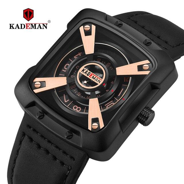 612G New KADEMAN Fashion Watch Men Quartz Outdoor Sport Leather Wristwatches Casual Waterproof Unique Design Relogio Masculino