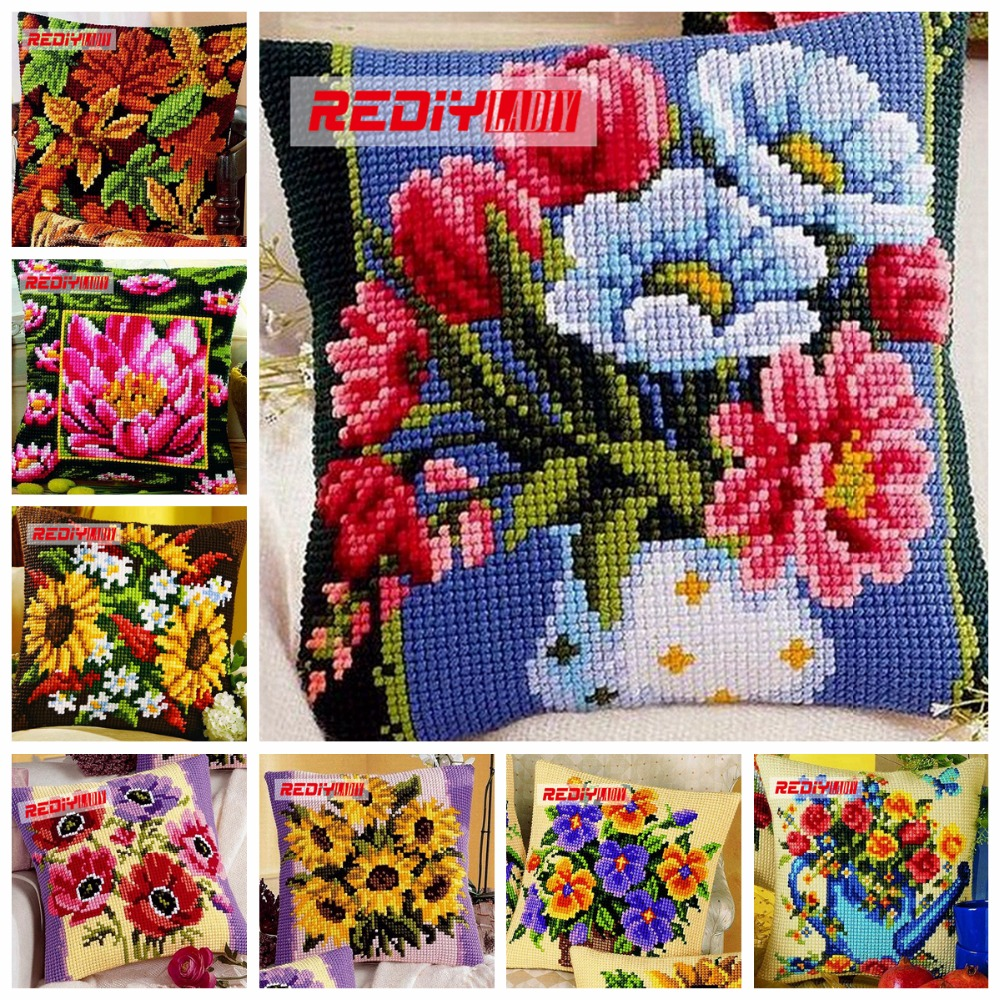 REDIY Cross Stitch Cushion Cover SUNFLOWERS Decorative Pillow Case Chunky Yarn Cross-Stitch Kit Cushions for Sofas Throw PillowsREDIY Cross Stitch Cushion Cover SUNFLOWERS Decorative Pillow Case Chunky Yarn Cross-Stitch Kit Cushions for Sofas Throw Pillows