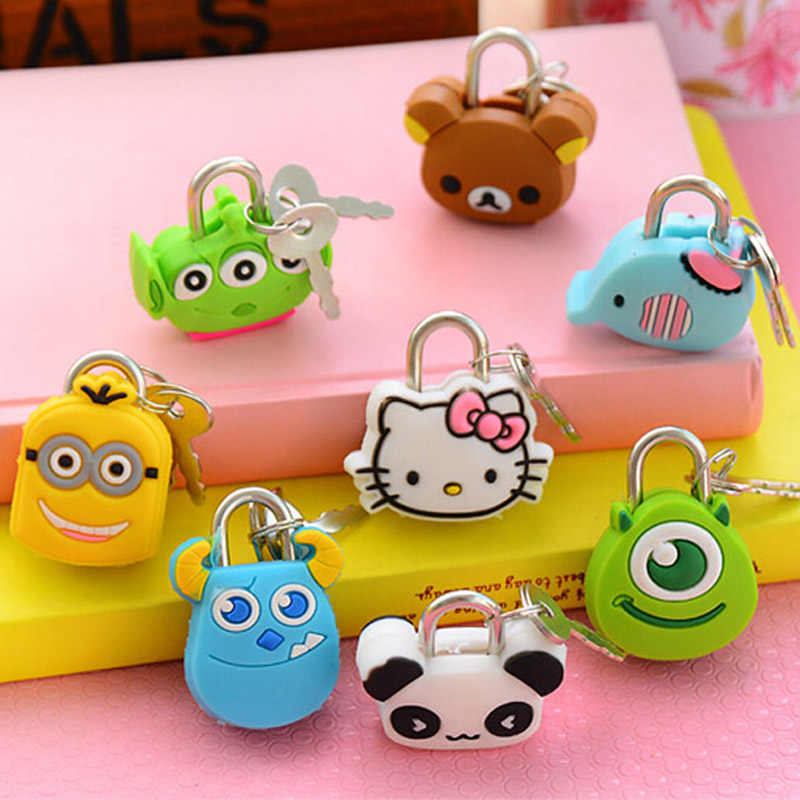 5 pieces/Lot Cute Cartoon Doll Animal Mini Silicone Metal Padlock Anti-thief Security Lock Stationery Material Escolar