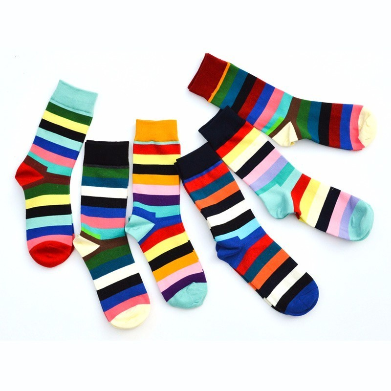 PEONFLY 2018 Happy funny Socks men With Stripe Ancient Ways Man Pure Full Cotton 6 pairs/lot popsocket meia calcetines dress