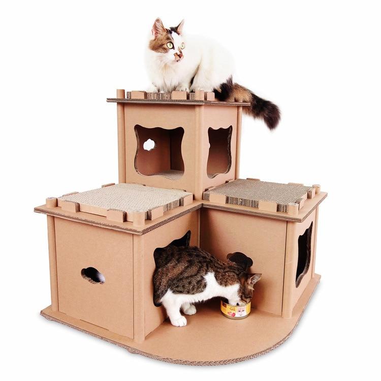 Chat ondulé maison de luxe tour chat meulage griffe jouet escalade cadre meubles chats rayures poteaux étagère jouer maison fournitures