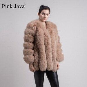 Image 3 - pink java QC8128 new arrival women winter clothes real fox fur coat natural fox fur jacket  hot sale big fur long sleeve