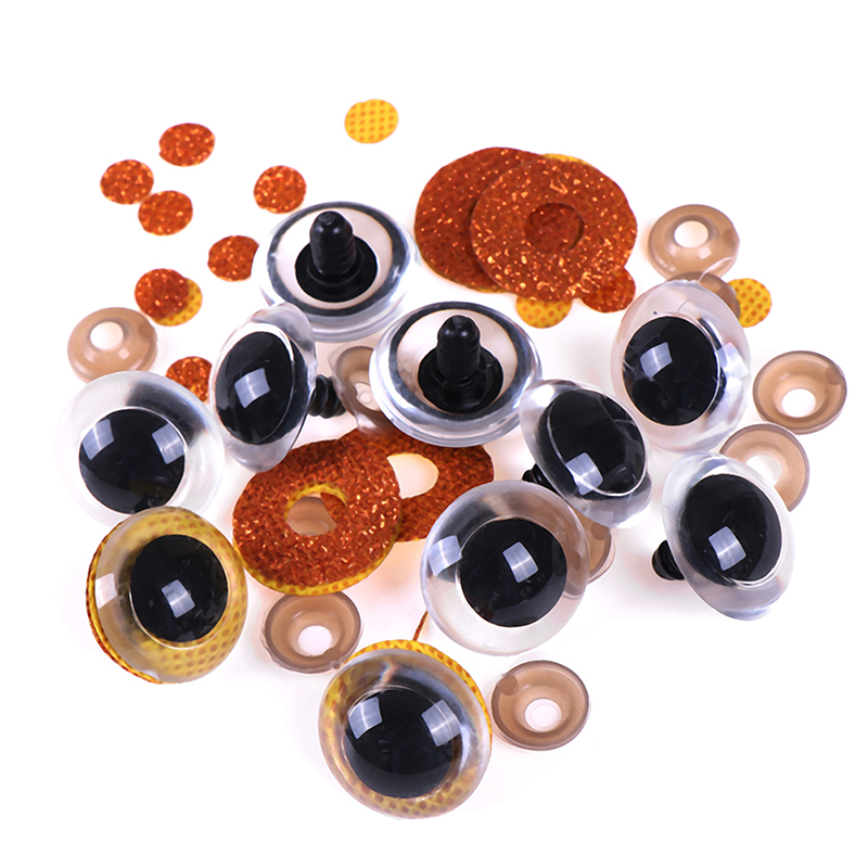 10pcs Shinning Plastic Doll Eyes Craft Eyes With Washer DIY For Plush Bear Stuffed Toys Animal Puppet Dolls 16-24mm Mix Colors