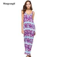 Wangcangli 2018 Summer Fashion The New Style Dress Spaghetti Strap Beach Vocation Style Print Ankle Length