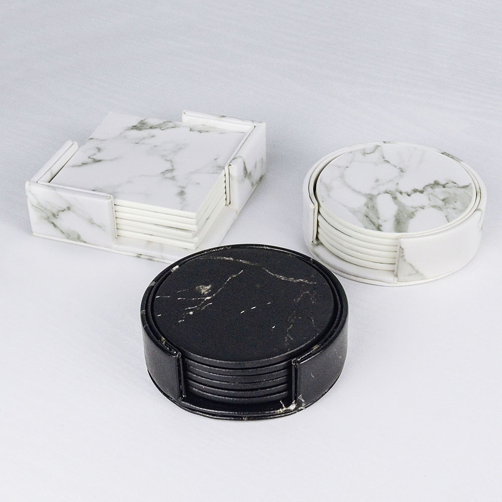 Creative Marble PU Leather Coaster Drink Coffee Cup Mat Tea Pad Dining Table Placemats Table Black White Chic Decoration 6PCS 2