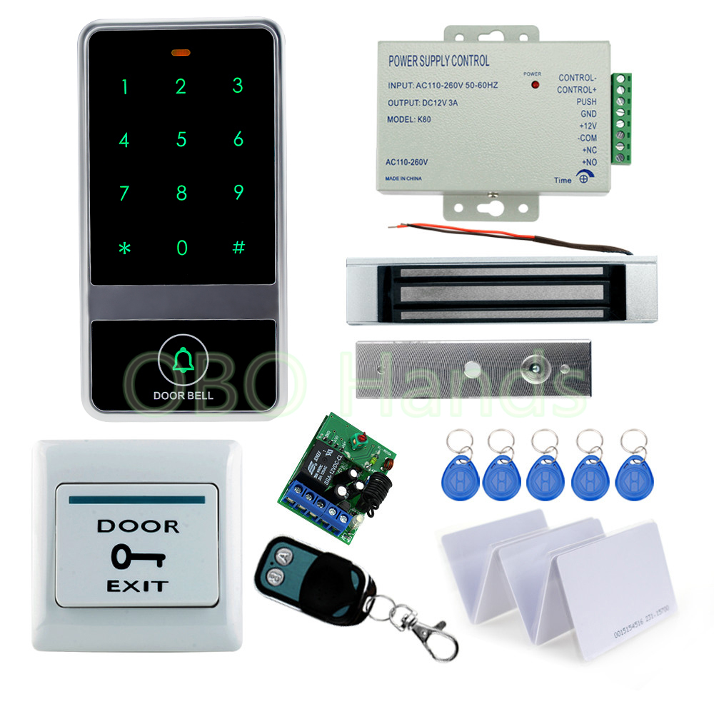 RFID Door access control system kit set metal touch keypad with Electric magnetic Lock+12V power+exit button+remote control+keys rfid fingerprint door lock system access control kit set keypad electric lock power supply rfid keys door exit button best price