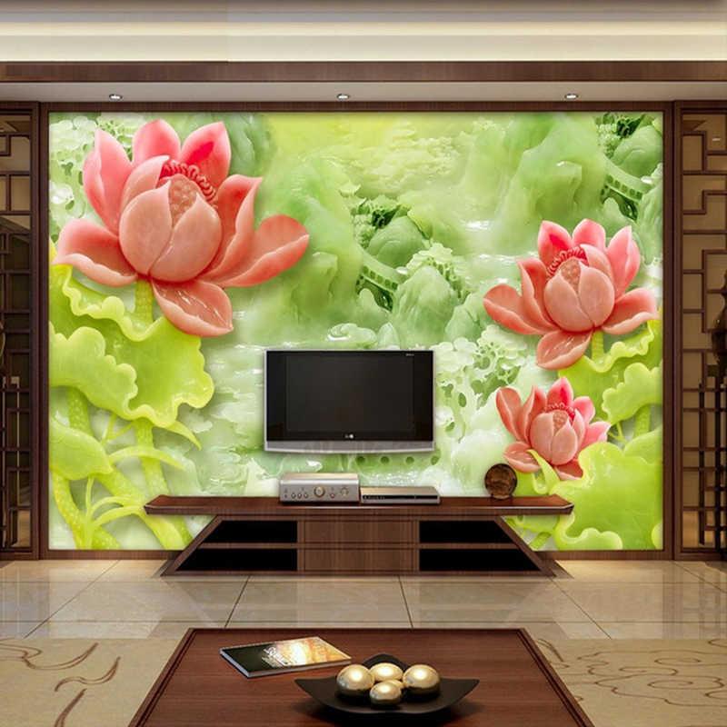 Custom 3D ภาพจิตรกรรมฝาผนังวอลล์เปเปอร์หยกแกะสลัก Lotus โมเดิร์นสไตล์จีนห้องนั่งเล่นทีวีพื้นหลังกำแพงตกแต่งภาพวาดวอลล์เปเปอร์