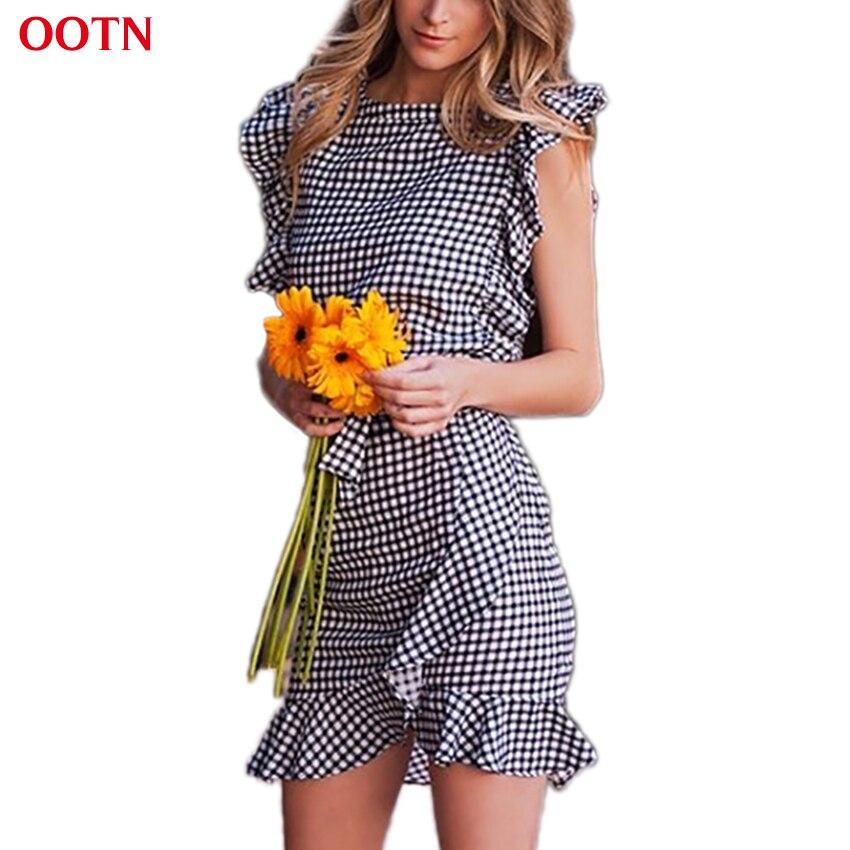 2d4380bb45be OOTN Women Black White Plaid Dress 2018 Summer Ruffle Mini Dresses Female  Short Sleeve Sundress Gingham Waist Bow Tie Casual