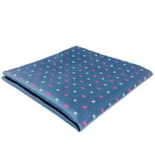 FH16 Blue Floral Mens Pocket Square Wedding Handkerchief Business Silk