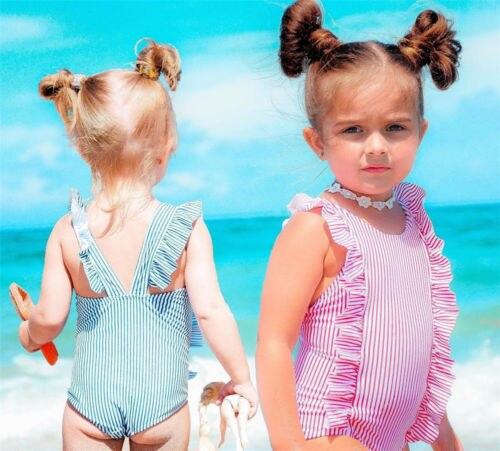 Toddler Newborn Baby Kid Girls Striped Swimwear Swimsuit One Piece Bikin Costume