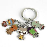Guardians of The Galaxy Keychain Rocket Raccoon, Groot,  Star Lord, Gamora and Drax 2