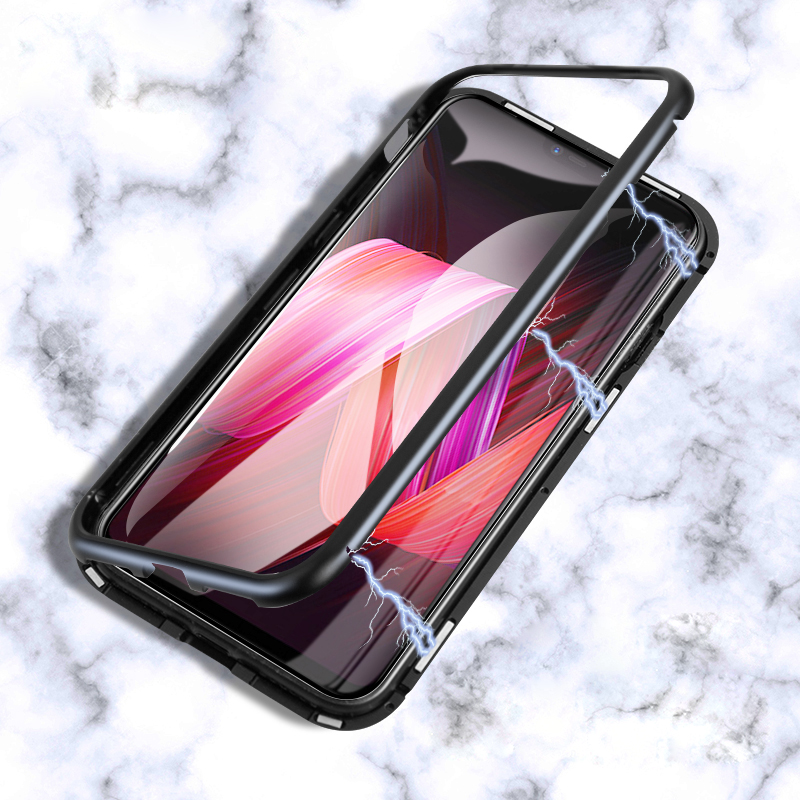 Magnetic Adsorption Case For iPhone X 8 7 6 6S Plus Clear Tempered Glass + Built-in Magnet Case Bumper Shell Metal Ultra Cover