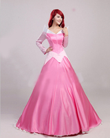 2017 New Adult Sleeping Beauty Costume Princess Aurora Dress Women Halloween Costume