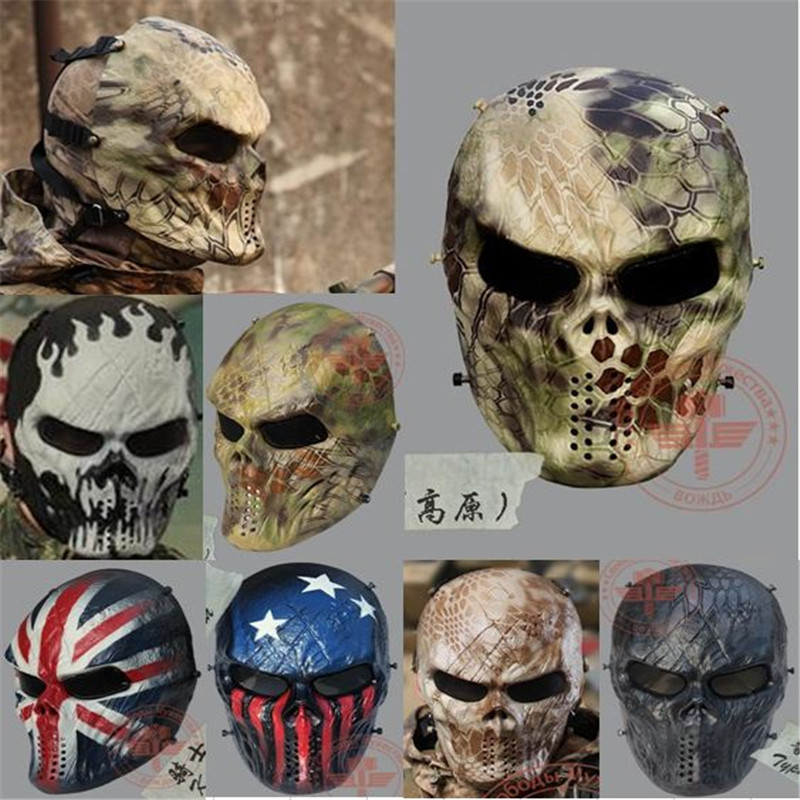 цена на Highlander Camo Wargame Paintball Mask Outdoor army Full Face Airsoft Tactical Skull Cosplay Masks Multi Color Freeship