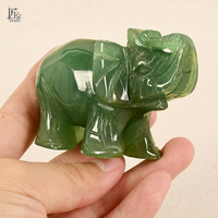 3 Inch Elephant Figurine Carved Craft Green Aventurine Animal Statue Natural Crystal Mineral Quartz Stone For