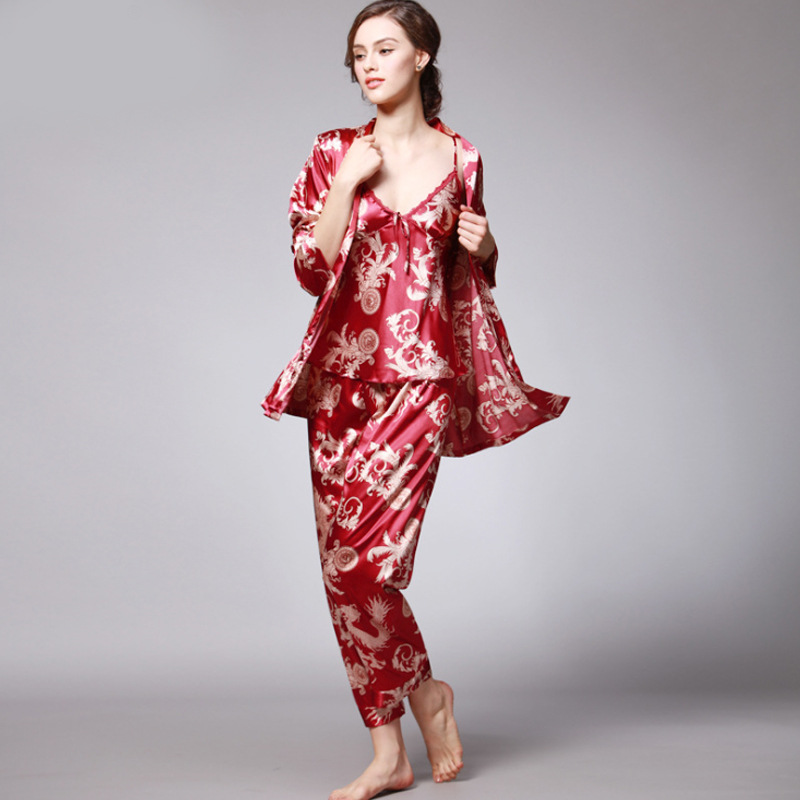 SSH008 Gratë Pajama Saten Silk Pajama, Femra 3 copë, Mëngë të plota Mjete të gjumit Rroba të gjumit Gratë Nightgown Pranvera Vjeshtë Nata Pizhame