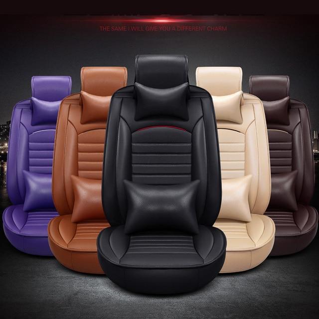 Black Brown Beige Orange Violet Pu Luxury Leather Car Seat Cover Front Back Complete 5
