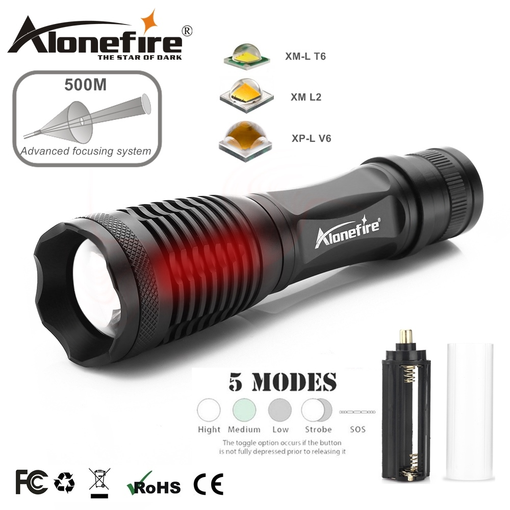 AloneFire E007 CREE XP-L V6 T6 LED Work Zoom Flashlight floodlight Torch lantern Camping lamp for AAA 18650 Rechargeable Battery