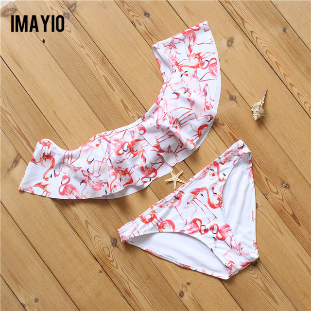 Imayio 2017 bikinis Women slash neck bikini Sexy Swimsuit low waist crop top shoulder off Bathing Suit flamingo SwimWear