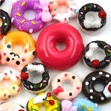 Dollhouse-Accessories Craft-Decoration Miniature Resin Fake Food 10pieces Doughnuts Cabochon