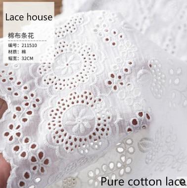 Женская хлопковая юбка, белая кружевная юбка в полоску с цветочной вышивкой, ширина 36 см