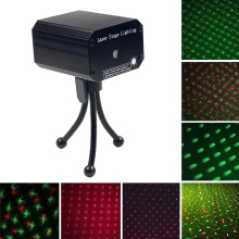 цена на Moving Full Sky Star LED Laser Projector Light Red & Green Voice-activated DJ Disco Xmas Party Club Light Stage Lighting Effect