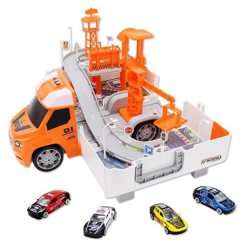 Vente chaude enfants éducatifs assemblé déformation jouet camion de pompier grand Police jouet voiture combinaison enfants cadeaux