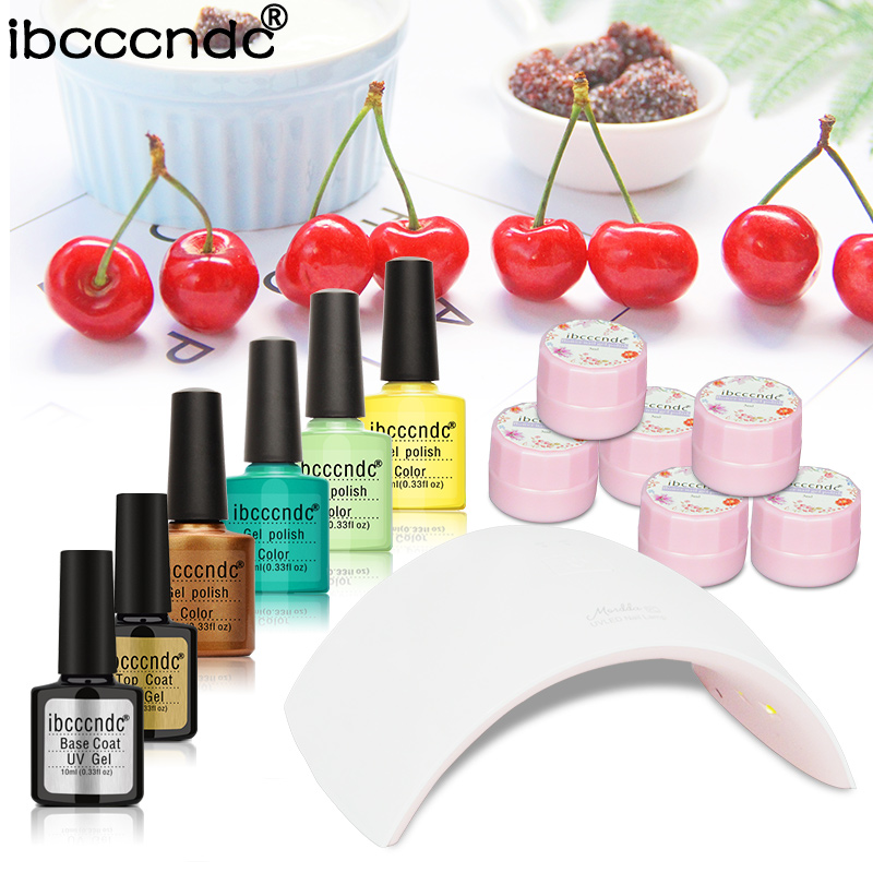 DIY Nail Art Set &Kit 24W LED Lamp + 4 pcs 10ml Soak Off UV Gel Nail Polish+ 10ml Base Coat and Top Coat+ 6 pcs dried flower gel nail art manicure tools set uv lamp 10 bottle soak off gel nail base gel top coat polish nail art manicure sets
