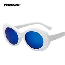 YOOSKE Clout Goggles NIRVANA Kurt Cobain Round Sunglasses For Women Men Brand Designer Mirrored Glasses Female Male Sun Glasses