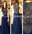 2015 Elegant Beading Crystal Chiffon A line Scoop Neck Navy Blue Beaded Long Prom Dress 2017 vestido de festa longo (SL-P136)