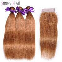 Blonde Brazilian Hair Weave 3 Bundles With Closure Straight Human Hair With Closure 30 Shining Star