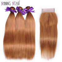 Blonde   Hair     Weave   3 Bundles   With     Closure   Straight Brazilian Human   Hair     Weave     With     Closure   Color 30 Shiningstar Nonremy Extension