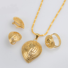 Gold Color Newest Ethiopian Necklace Earrings Ring for Women African Eritrean Wedding Habesha Jewelry sets Gifts #J0757