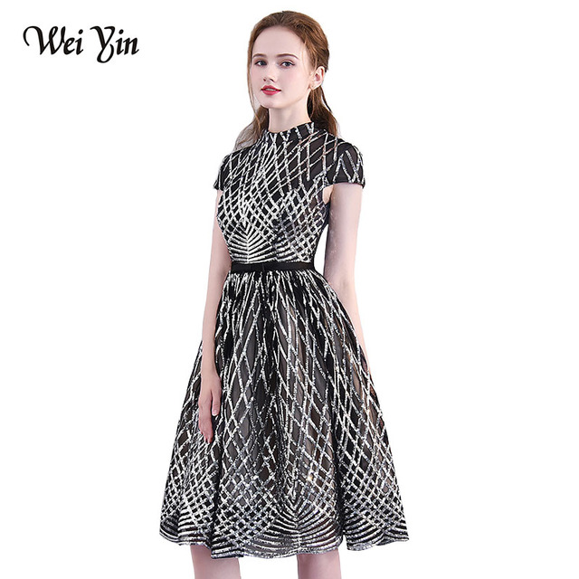 5627ae92eb0a6 US $56.8 29% OFF|WEIYIN New Arrivals Short Evening Dresses Woman Lace High  Neck Black A Line Party Gown Custom Formal Dresses Simple Lace DIY -in ...