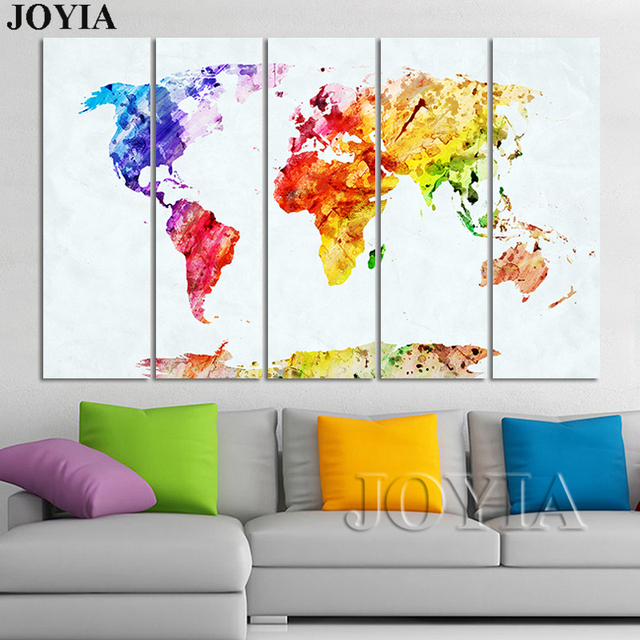 Large World Map Paintings Watercolor Canvas Art Set Globe Scratch - Watercolor scratch off map