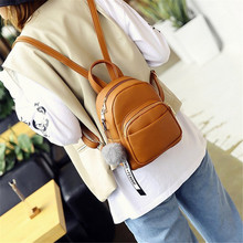 Купить с кэшбэком Female Soft PU Leather Mini Backpacks Students Fuzzy Ball Pendant Shoulder Schoolbags Women Fashion Small Travel Bags Back Pack